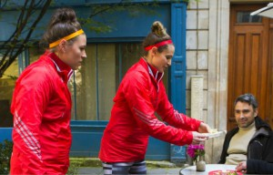 Natalie Spooner and Meaghan Mikkelson serve in Paris on Amazing Canada 2