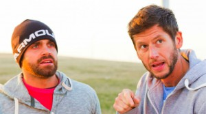 Rob Goddard and Ryan Steele at the route marker of Amazing Race Canada 2 episode 6