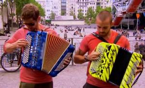 Ryan Steele and Rob Goddard play the accordian on Amazing Race Canada Season 2