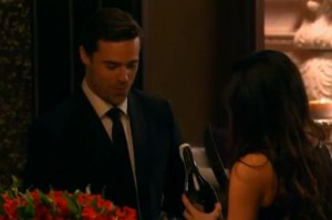 Tim Wormels is wondering what else Kelsey  is going to do with that knife on The Bachelor Canada 2 episode 1