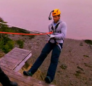 Ryan Steele is a little scared to repel on Amazing Race Canada 2 Episode 11