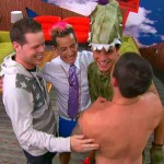Frankie Grande, Caleb Reynolds, Cody Calafiore and Derrick Leveasseur celebrate being the final 4 guys on Big Brother 16 episode 33
