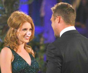 Nicole Meacham tries to make Chris Soules laugh by wearing a pig nose on The Bachelor 19 Episode 1