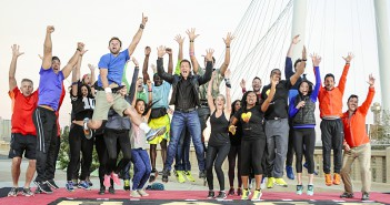 """Monster Truck Heroes""--After 5 continents. 8 countries, and more than 35,000 miles, the race concludes on the top of the Continental Avenue Bridge in Dallas, Texas on the 26th season finale of THE AMAZING RACE, Friday, May 15 (8:00-9:00 PM, ET/PT) on the CBS Television Network. Pictured L-R: Jeff, Matt, Ashley, Mike, Blair, Hayley, Jenny, Kurt, Jelani, Phil Keoghan, Tyler, Laura, Jackie, C.J., Jeffrey, Libya, Steve, Aly, Harley, and Jonathan Photo: Michael Prengler/CBS ©2015 CBS Broadcasting, Inc. All Rights Reserved"