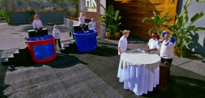 The chefs of Hell's Kitchen season 14 face off at the dunk tanks in the blind taste test challenge.