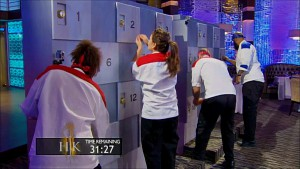 The Hell's Kitchen chefs try to open lockers to find ingredients to use