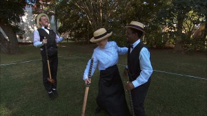 """""""Good Old Fashioned Spit in the Face""""--In Detour B, James Earl (left) and Denise (right) must first change into a croquet uniform then score five points against an opponent in order to receive the next clue on THE AMAZING RACE, Friday, Oct. 16 (8:00-9:00 PM, ET/PT) on the CBS Television Network. Photo: CBS ©2015 CBS Broadcasting, Inc. All Rights Reserved"""