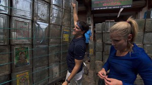 """It's Always the Quiet Ones""--In Detour A, Joey (left) and Kelsey (right) must load up a cargo rickshaw with 120 cans and deliver them to the New Taj Oil company in order to receive the next clue on THE AMAZING RACE, Friday, Nov. 20 (8:00-9:00 PM, ET/PT) on the CBS Television Network. Photo: CBS ©2015 CBS Broadcasting, Inc. All Rights Reserved"