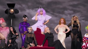Kim Chi poses in the photo shoot with the #DragRace winners